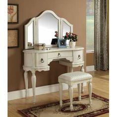 Acme Furniture - Trini White Vanity Set With Stool Mirror - 90024 Wood Makeup Vanity, Wooden Vanity, Vanity Desk, Makeup Stool, Makeup Vanities, Vanity Tables, Vintage Vanity, White Vanity Set, Vanity Set With Mirror