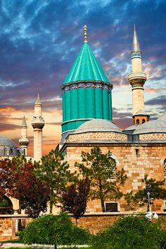 The Mevlana museum, with the blue domed mausoleum of Jalal ad-Din Muhammad Rumi…