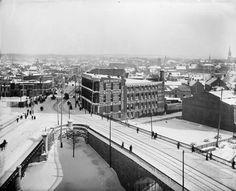 Rideau Street Jan Sappers' Bridge (right), Dufferin Bridge (left). This is the site of the (future) Canada Atlantic Railway Station. Ottawa Canada, Union Station, Largest Countries, Photo Archive, Ontario, North America, Bridge, Ocean, Future