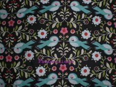 """Baumwolle """"Vögelchen"""" schwarz-türkis von FarbenLiebe auf DaWanda.com - hätte ich sehr gern! :)"""