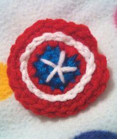 Set of 2 Handmade Crochet Captain America Shield Avengers Hair Clips