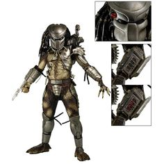 """JUNGLE HUNTER PREDATOR By Neca Based on the original 1987 Predator film, this massive action figure marks the triumphant return of the Jungle Hunter to our 1/4 scale line! Long out of production, our very first Predator 1/4 scale has been updated to include LED lights in the mask's targeting system and in the wrist computer, which flips open. The figure stands an impressive 19"""" tall and is entirely accurate to the movie design, with over 20 points of articulation."""