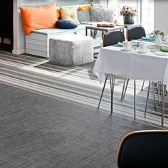 living room with woven vinyl floor from Bolon. Off-gassing concerns: http://www.rfci.com/