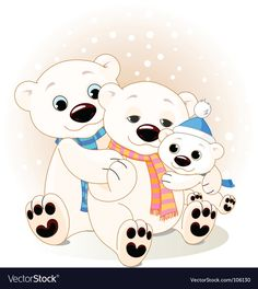 A Mommy and Daddy bear with their baby bear. Polar Bear On Ice, Cute Polar Bear, Cute Bears, Bear Clipart, Bear Vector, Polar Bear Drawing, Cute Bear Drawings, Family Vector, Family Poster