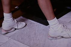 Double heel stacked trainers backstage at Eckhaus Latta SS15 NYFW. More images here: http://www.dazeddigital.com/fashion/article/21577/1/eckhaus-latta-ss15