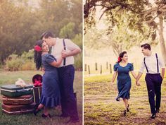 Irielys and Michael's engagement photos are frozen in time. Their vintage-styled session is a blast from the past, from Irielys' pin-up hair to the elegant bac