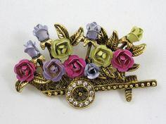 Flower Cart Wagon Pin Brooch Vintage Enameled Roses Rhinestone Wheel #Unbranded