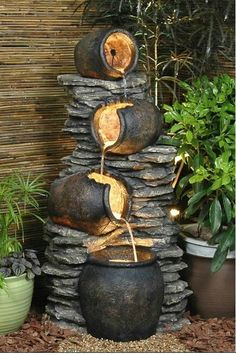 4 Pots On Rock Fountain Water Feature Rocks+Gardens+Water+Fountain Backyard Water Fountains, Backyard Water Feature, Garden Fountains, Outdoor Fountains, Fountain Garden, Rock Fountain, Indoor Fountain, Tabletop Fountain, Fountain Design