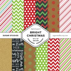 Bright Christmas 12 Piece Digital Scrapbook Paper by sugarstudios $3.99