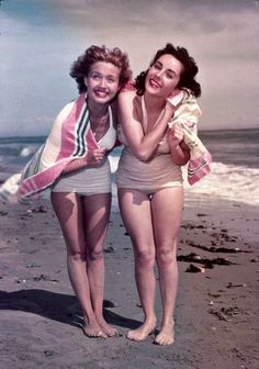 Elizabeth Taylor and Jane Powell at the beach, August, 1948