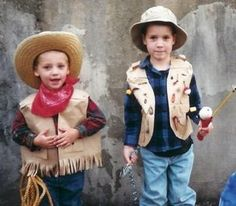Easy last-minute Halloween costume ideas: turn paper bags into vest for a fisherman or a cowboy! Too cute.