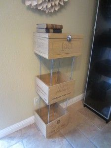 "You can get wine crates from any specialty wine store.  Oftentimes they are free or some stores sell them for about five dollars apiece.    Materials:        3 Wine Crates      Stain (optional)      Polyurethane (Optional)      Paint Brush (Optional)      Rag (Optional)      Four ¼"" 20X36"" Threaded Rods      Eight ¼"" Cap Nuts      24 ¼"" Flat Washers      Knob    Here are the wine crates before."
