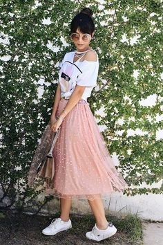 blush tulle skirt-Summer casual and trendy outfits – Just Trendy Girls Tule Skirt Outfit, Pink Skirt Outfits, Pink Tulle Skirt, Outfits Casual, Swag Outfits, Dance Outfits, Pretty Outfits, Girl Outfits, Cute Outfits