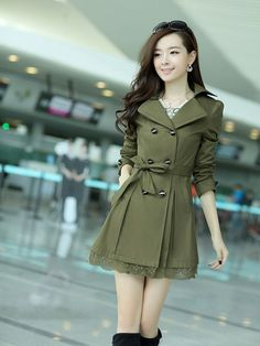 Women Trench Coat Fashion Plus Size Lace Slim Double-Breasted Trench Coats Female Casual Windbreaker Outwear Casaco Femin YL0667