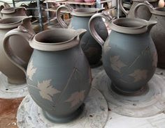 I'm off to East Lansing for the East Lansing Art Festival. Here are some pictures of what I've been working on lately. Ceramic Tableware, Ceramic Pitcher, Ceramic Mugs, Ceramic Pottery, Ceramic Art, Stoneware, Pottery Art, Kitchenware, Ceramic Techniques