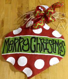 Christmas Burlap Door Hangers | Christmas ornament burlap door hanger. $55.00, via ... | Craft Projec ...