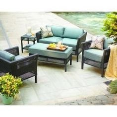 PATIO FURNITURE OUTDOOR LAWN & GARDEN HAMPTON BAY FENTON ALL WEATHER RESIN WICKER PEACOCK & JAVA CUSHIONS BLUE 4 PC by PATIO FURNITURE At The Neighborhood Corner Store. $1627.20. Soft, soothing blue cushions complement rich hues in frame. Includes 2 coordinating toss pillows for added comfort Fully woven wicker crafted of all-weather resin. Weather-resistant fabric for lasting beauty and seasons of use. Stationary Lounge Chairs and Loveseat Washes easily with mild soap ...