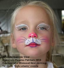 Cat Face Paint looks great on everyone Cat Face Painting within Bunny Face Paint Bunny Face Paint, Easter Face Paint, Mouse Face Paint, Simple Cat Face Paint, Simple Face Paint Designs, Face Painting Designs, Body Painting, Face Painting For Kids, Kids Face Paints