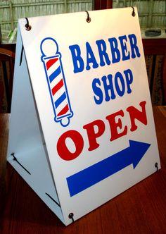 Barber shop open with arrow sandwich board sign kit new barber shop decor Barber Sign, Barber Shop Decor, Sandwich Board Signs, Corrugated Plastic Signs, Barbershop Design, Barbershop Ideas, Barber Shop Quartet, Best Barber, Open Signs