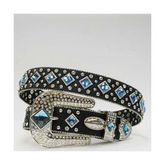 Black With Blue Rhinestone Western Belt ($70) ❤ liked on Polyvore