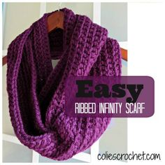 Crochet Scarf Patterns Easy Ribbed Infinity Scarf - Do you need some crochet inspiration? Check out the ELK Studio's Saturday Crochet Show for some great FREE patterns! Crochet Scarves, Crochet Shawl, Easy Crochet, Crochet Clothes, Knit Crochet, Crochet Infinity Scarf Free Pattern, Crochet Stitches, Double Crochet, Infinity Scarf Patterns