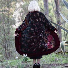 Peacock Silk and Velvet Duster