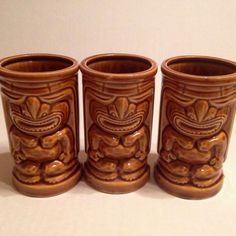Orchids of Hawaii Tiki mugs set of 3 R 91 Brown glazed