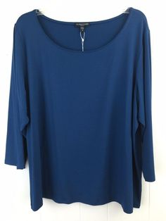 Eileen Fisher Women s Plus 1X Stretch Rayon  Jersey Top  TealBlue Scoop  Blouse USA   c0fea1614