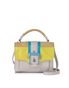 Paula Cademartori Dun Dun Ice Grey Leather and Suede Satchel at FORZIERI