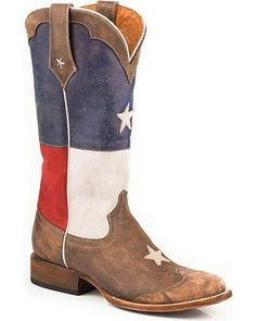 Roper Distressed Texas Flag Cowgirl Boots - Square Toe