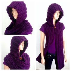 Crochet Scoodie in Purple by Africancrab on Etsy