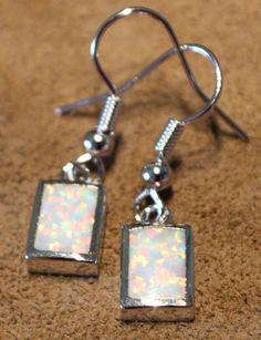 white fire opal earrings Gemstone silver jewelry cocktail drop/dangle style V5E3 #DropDangle