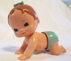 Vintage Baby Girl Wind Up Toy Tomy. Yes, our toys were so simple. My mom still has mine 1970s Toys, Retro Toys, Kitsch, Childhood Days, Little Doll, Great Memories, Antique Toys, Old Toys, Vintage Dolls