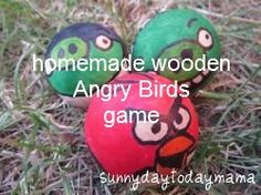Homemade wooden Angry Birds game http://sunnydaytodaymama.blogspot.co.uk/2012/08/homemade-wooden-angry-birds-game.html