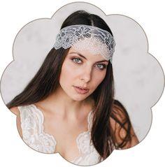 Spitzen Haarband für eine moderne, bohemian, boho, 20er Jahre Hochzeit und Braut. Boho, Bohemian, Vintage Hochzeit.