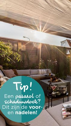 Je moet jezelf deze zomer goed beschermen tegen de UV-stralen en de hitte. In de tuin kun je dit doen door schaduw te creëren met een parasol of een schaduwdoek. We zetten de voor- en nadelen op een rijtje. | Umbrella or shade cloth? these are the pro's and con's | #ehet #eigenhuisentuin #styling #decoratie #decoration #inspiratie #inspiration #interior #interieur #garden #tuin #gardeninspiration #tuininspiratie  #gardendesign #tuinstyling #gardenlovers #gardenideas | Eigen Huis & Tuin Pergola, Plants, Inspiration, Biblical Inspiration, Outdoor Pergola, Plant, Inspirational, Planets, Inhalation