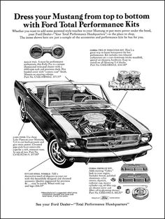 Pièces de performance Ford Mustang 1965 - Cars, Bikes & Co - Ford Mustang 1965, 65 Mustang, Ford Mustang Fastback, Car Ford, Ford Mustangs, Classic Mustang, Ford Classic Cars, Mustang Convertible, Car Advertising