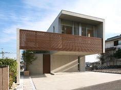 急傾斜地に建つRC打放しの住宅 Bungalow, Facade, Pergola, Exterior, Outdoor Structures, Studio, Home Decor, Decks, Balcony