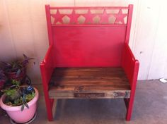 diy bench made from two headboards