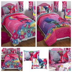 Dreamworks Trolls Show Me A Smile Reversible Twin Full Bedding Comforter Features Princess Poppy Dancing