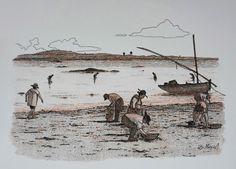 AS MARISQUEIRAS - II (bico de pena, lápis de cor aquarelável s/ papel C à grain 224g/cm², tamanho: A4)
