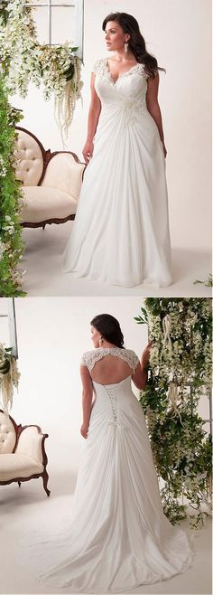Newest A-line Sweep Trailing Chiffon V-neck Lace Appliques wedding dresses, WD0334
