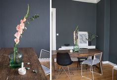 My dears, I dared. Recently, a dark gray color by Farrow & Ball decorates our wall in the living room … Source by hannahopp Living Room Ideas 2019, Living Room Grey, Farrow Ball, Dark Grey Color, Modern Bedroom, Wall Colors, Wands, Dining Table, Furniture