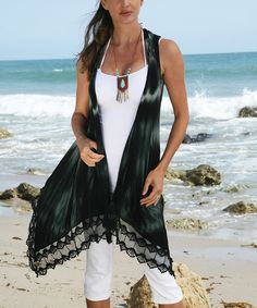 Ananda's Collection Black Tie-Dye Drape Vest - Women by Ananda's Collection #zulily #zulilyfinds