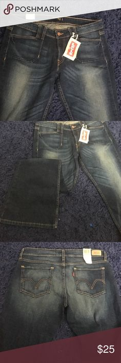 Levi's 524 Juniors size 13 flared jeans New with tags. Size 13 hip-hugging flared jeans. Dark indigo and low cut. Levi's Jeans Flare & Wide Leg