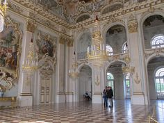 Schloss Nymphenburg, Germany - Under Elector Maximilian III Joseph (reigned 1745-77) the Great Hall at Nymphenburg Palace acquired the opulent decoration that can be admired today. Here Johann Baptist Zimmermann, together with François Cuvilliés the Elder, created a major work of Munich court Rococo.