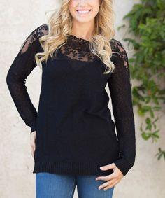 Look at this #zulilyfind! Black Lace-Yoke Sweater by Pinkblush #zulilyfinds