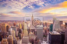 Fotobehang Sunset uitzicht op New York City kijkt uit over het centrum van Manhattan
