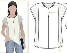 Sian Combo Top Sizes 6 8 10 Knit or Woven Top PDF Sewing