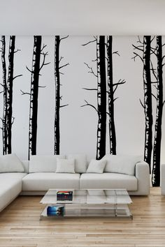 "Mural Idea #1. Paint ""dark"" simple trees on white ""clean"" walls."